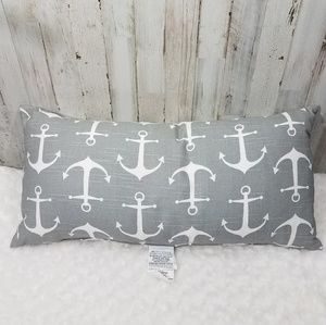 Canaan~ Gray & White Anchor Print Pillow
